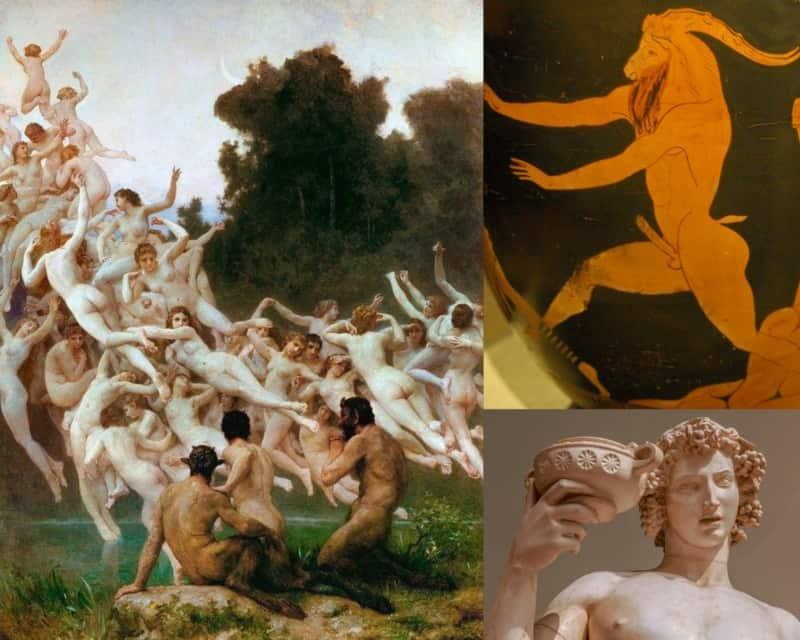Pintura moderna de las ninfas, pintura de Pan en vasija y estatua de Dionisio